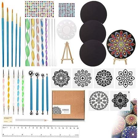 UHAPEER Mandala Dotting Outils 40PCS, Mandala Peinture Kit, Rocks Dotting Tools avec 3 cartons, pinceaux d'art Mandala pour la peinture, la coloration, le dessin et la rédaction fournitures d'art
