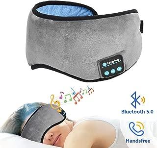 Bluetooth Sleeping Eye Mask Sleep Headphones, GYNOD 5.0Bluetooth Wireless Headset Music Sleeping Mask for Travel Office Built -in HD Speakers Microphone Handsfree Adjustable and Washable