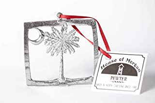 Handmade Flag of South Carolina SC Christmas Ornament Pewter