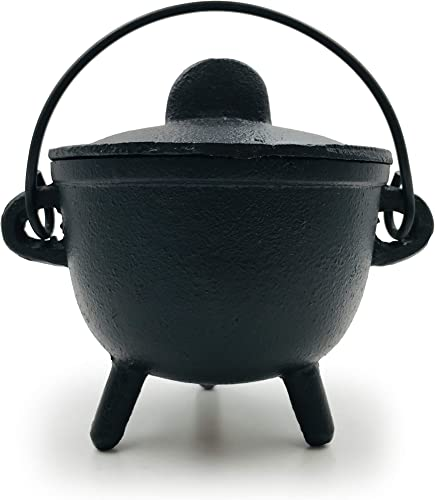 popular Alternative Imagination wholesale Cast Iron Cauldron with Lid and Handles. Perfect for Incense, Rituals, Home Decor, and More - 4.25 Inches outlet sale Diameter online sale