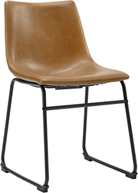 """Walker Edison Furniture Company 18"""" Industrial Faux Leather Armless Indoor Kitchen Dining Chair with Metal Legs Upholstered,"""