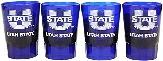NCAA 4-Pack Full Color Plastic Stackable Team Logo Shot Glasses (Utah State Aggies)