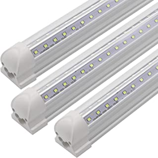 3FT Led Tube Light Fixture, T8 Integrated LED V-Shaped, Clear Cover, 20W, 2300lm, 6000k White, Utility Shop Light, Ceiling and Under Cabinet Light,for Garage,Warehouse,Plug and Play (Pack of 3)