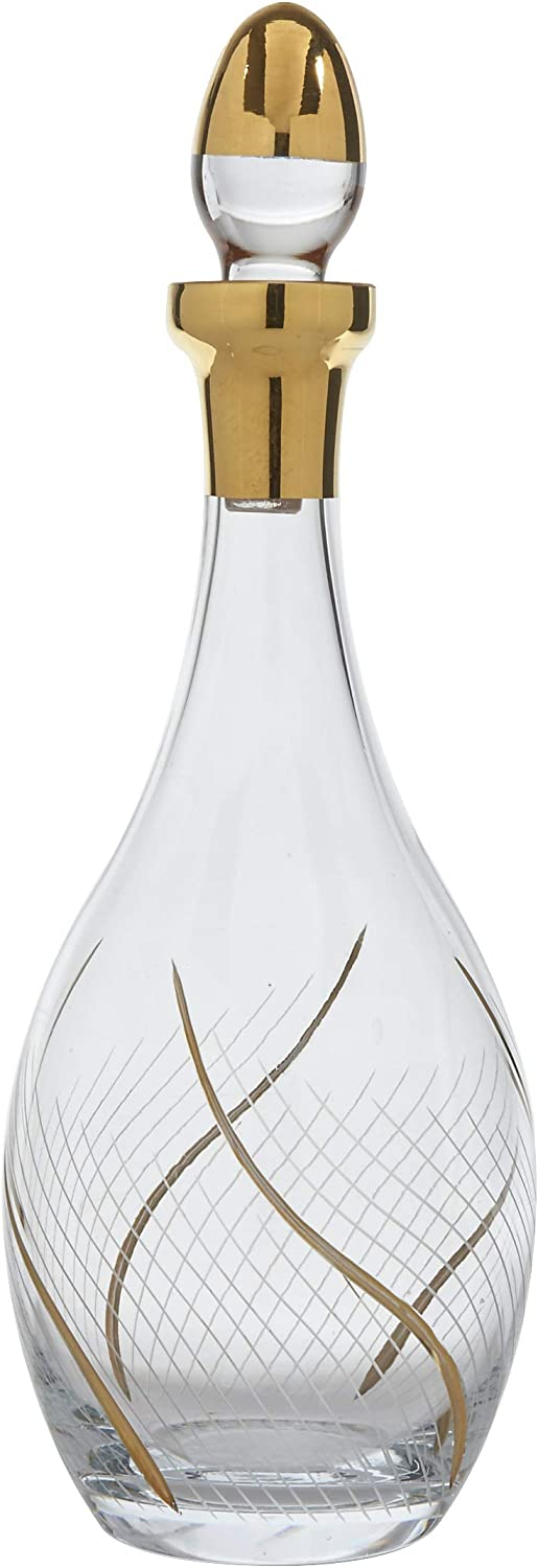 Glazze Crystal RMC-150-GL Glazze Romance Premium Glass Decanter and Stopper with Real 24K gold Detailing   Luxury Hand-Blown Crystal Wine Bottle Aerator   13  H-42 oz
