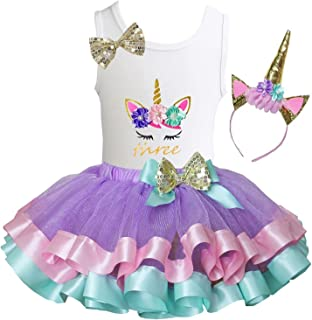 Girls Lavender Pastel Satin Trimmed Tutu & Birthday Unicorn Tee