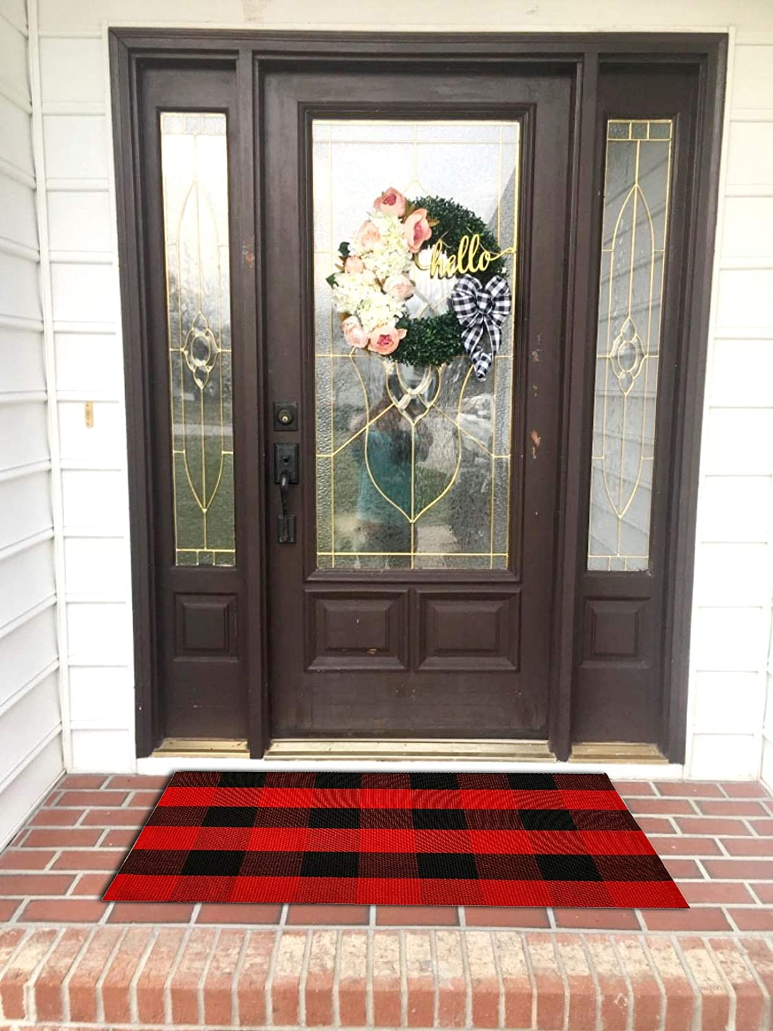 Mesa Mall Ukeler Buffalo Plaid Outdoor Popular Rugs and Cotton Washable- Black Red