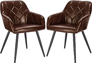 EUGAD Pack de 2 Sillas de Comedor Vintage Diseño de Cuero Sintético Sillas Nórdicas Moderna Silla de Cocina Salón Dormitorio Conferencia Marrón Oscuro