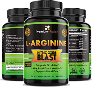 L-Arginine with Nitric Oxide Blast, Supplement for Circulation, Blood Flow, Powerful NO Booster with L-Citrulline Malate Extract, Beta Alanine, Train Better, Longer and Harder from Premium Fusion
