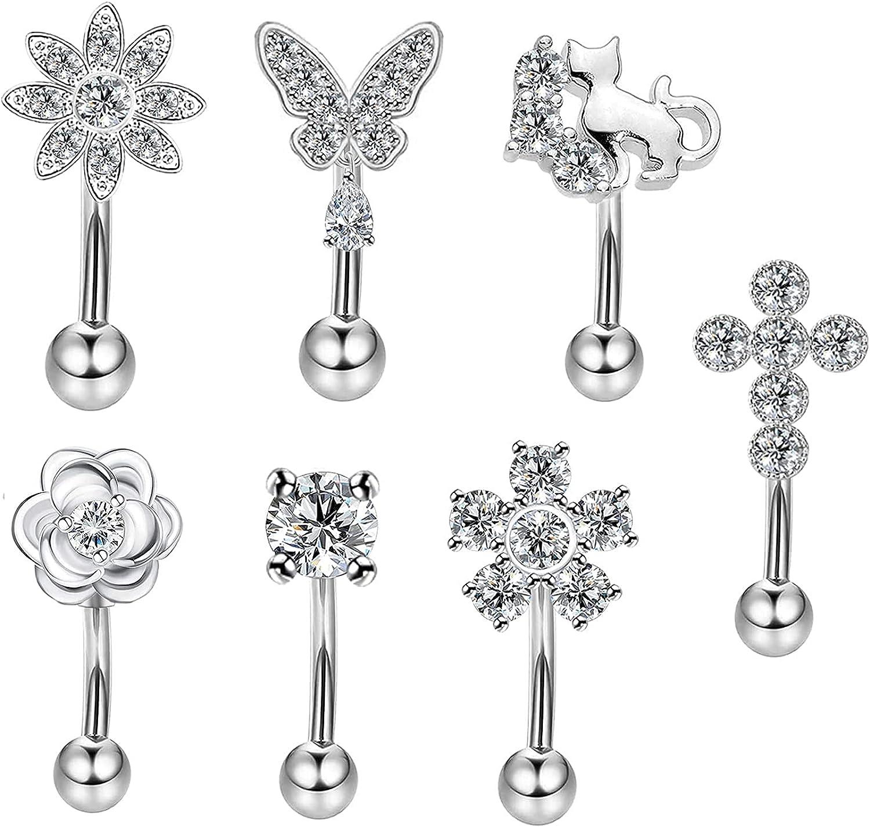 CHARMONLINE 16G Surgical Steel Rook Earrings Piercing Jewelry Daith Snug Eyebrow Rings Piercing Curved Barbell Anti Tragus Forward Helix Piercings for Women Men