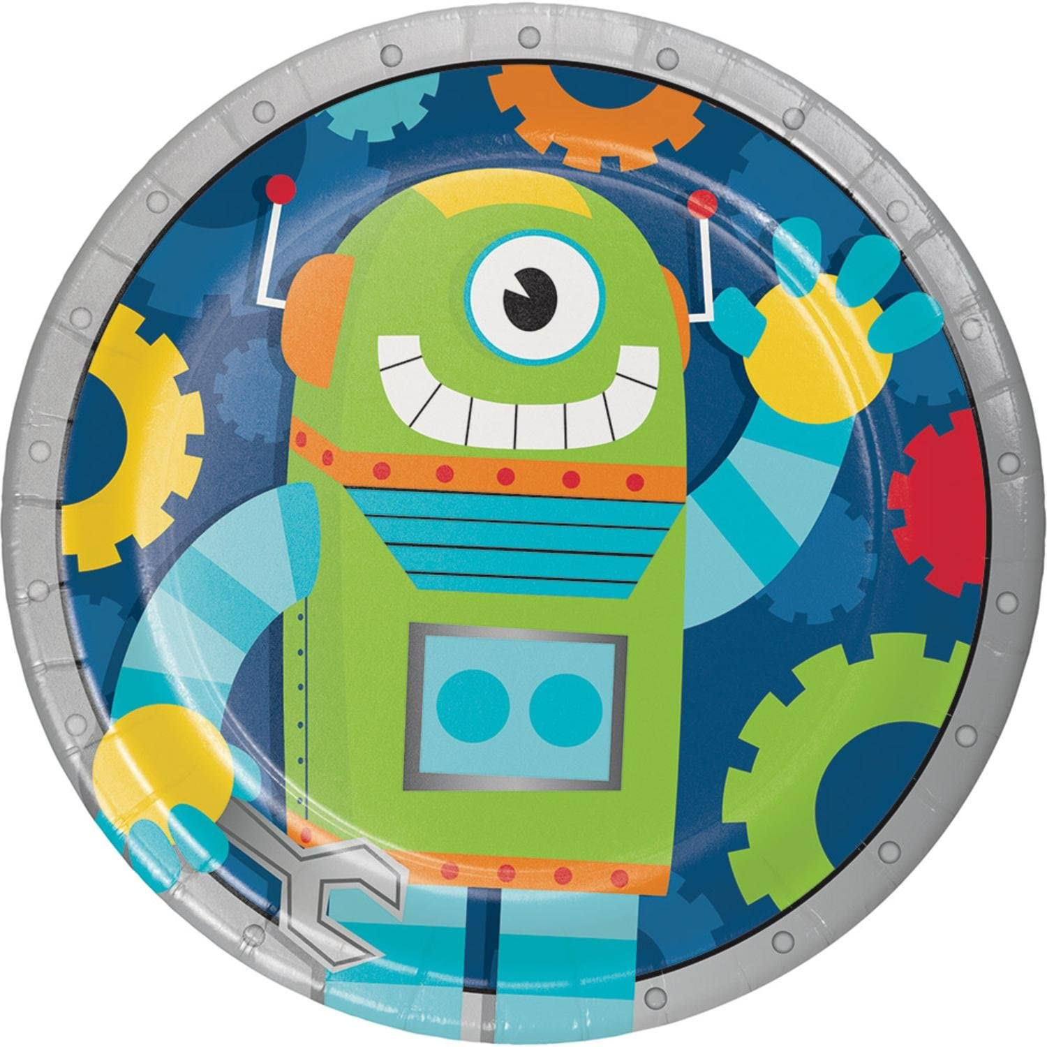 Club Pack of 96 bluee and Green Party Robot Dinner Plate 6.87