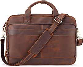 Jack&Chris Men's Genuine Leather Briefcase Messenger Bag Attache Case 15.6