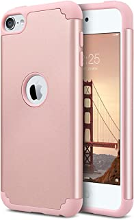 ULAK iPod Touch Case 7th Generation, Case for iPod Touch 5 & 6, Slim Fit Protective Hybrid Dual Layer Soft Silicone and Hard Back Cover for Apple iPod Touch 5th/6th/7th Gen, Rose Gold