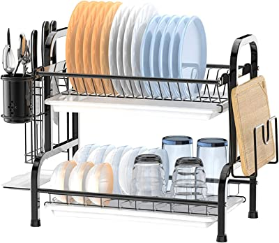 Dish Drying Rack, Packism 2 Tier 304 Stainless Steel Large Dish Rack with Utensil Holder for Kitchen Countertop Organizer, Anti Rust Dish Drainer Shelf with Drain Board, Black