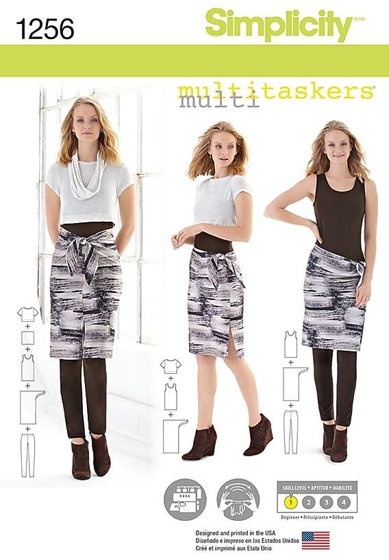 Simplicity Multitaskers Beginner Pattern 1256 Misses Easy Knit Leggings, Tank-top, Crop Tee, Sarong, Size 4-26