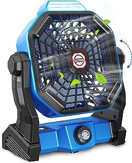 Tesoky Ventilateur Silencieux Portable avec Lumière LED,10400mAh Ventilateur Camping Voiture USB Rechargeable,Vitesse Illi...