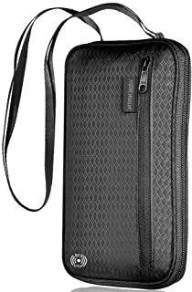?LATEST?RFID Family Passport Holder, Large Capacity Neck Travel Wallet Passport Holder for Women/Men with Multiple Zipper Water Resistant Fabric, Holds 4+ Passports (Black)