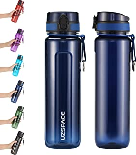 UZSPACE Sports Water Bottle 500ml-750ml-950ml No-Toxic, BPA Free,Eco-Friendly Tritan and Reusable with Leak-Proof Lid and One Click Open for Running, Gym, Yoga, Outdoors and Camping