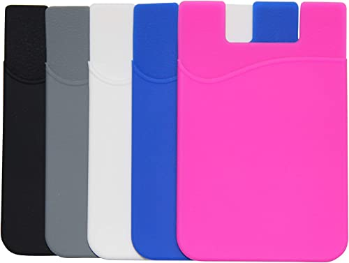 AgentWhiteUSA 5 Pack Cell Phone Wallet, Card Holder for Back of Phone, Stick on Wallet (for Credit Card, Business Car...