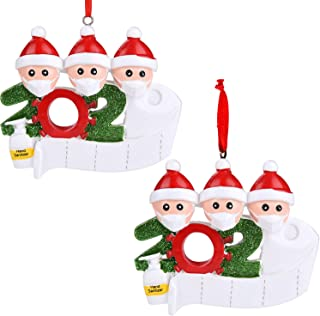Best Cabepow 2Pack Personalized Quarantine Family 2020 Christmas Ornament Family Members of Gifts for Grandkids Children Co-Workers Friends (Family of 3) Review