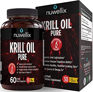 Nuwellix Krill Oil Supplement with Omega 3 EPA, DHA and Antaxanthin - Promotes Joint Lubrication and Youthful Looking Skin - High Potency - 60 Softgels