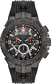 Swiss Military Hanowa - Reloj de Cuarzo Swiss Military Hanowa Navy Seaman Chrono, Negro, PVD, 45 mm
