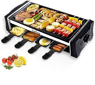 LOEFME Raclette Grill électrique avec poêle réversible Teppanyaki pour 8 personnes - Température réglable en continu - Rev...