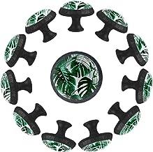 Groene tropische bladeren patroon, keuken kast knoppen lade knop pull handvat Crystal glas trekt voor thuis kantoor slaapk...