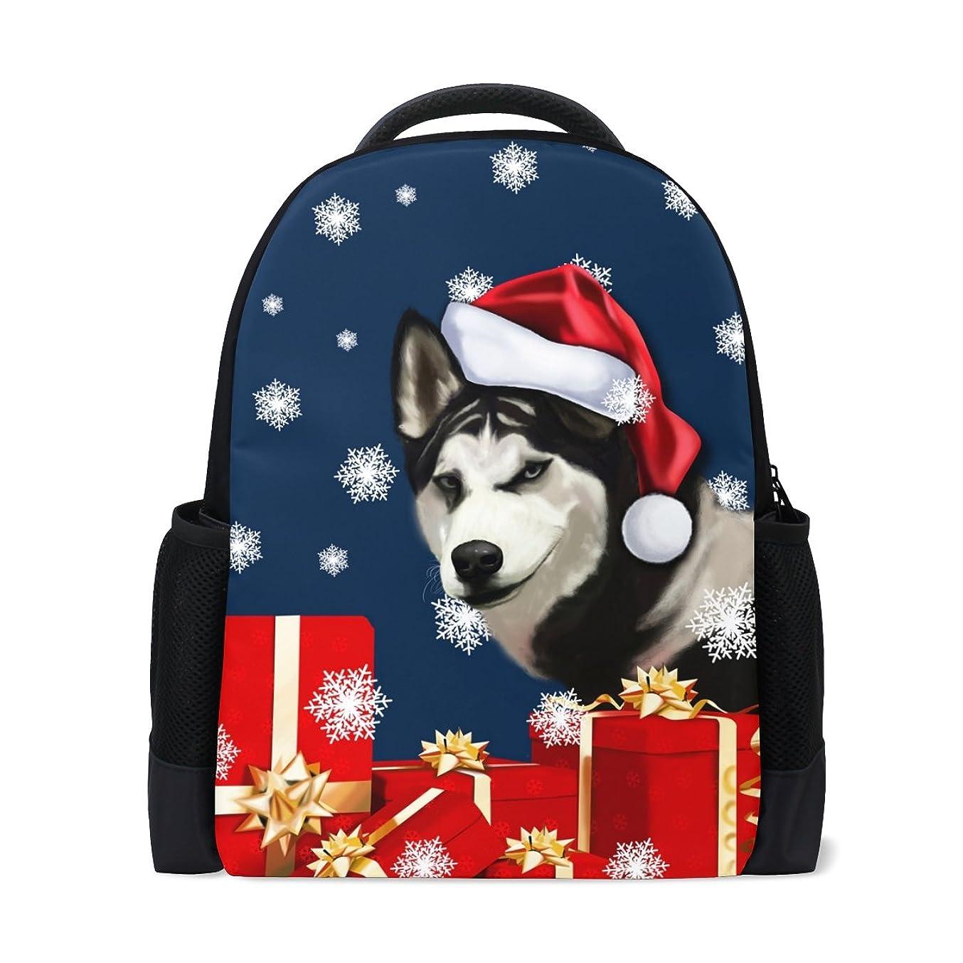 真っ逆さま放棄する価値マキク(MAKIKU) リュック 大容量 おしゃれ レディース 軽量 メンズ 通学 クリスマス ハスキー かわいい 犬柄 高校生 中学生 リュックサック プレゼント対応