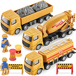 Toys Construction trucks for toddlers, GEYIIE Metal Construction Site Vehicle Toys play set engineering Cars, Dump, Cement, Tanker Die cast truck for Boys, Girls, Toddlers,Kids,Children,Aged 3 4 5 6 7
