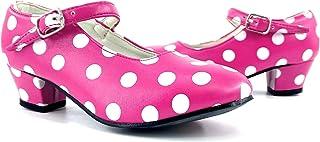 Partilandia Zapatos Sevillanas Niña y Mujer Disfraz Flamenca 【Tallas Infantiles 22 a 35 y adulto 36 a 42】 Zapatos Tacón Ba...