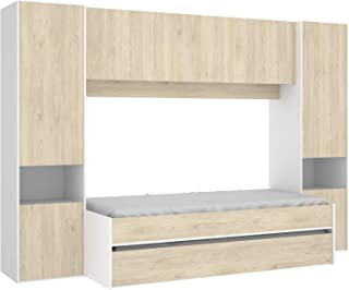 HABITMOBEL Cama Nido compacta Armario + altillo, Medidas; Ancho: 303 cm x Fondo: 92 cm x Alto: 203 cm