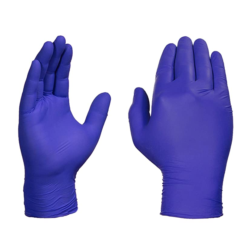 AMMEX Indigo Nitrile 4 Mil Disposable Gloves - Latex Free, Exam Grade, Powder-Free, Textured, Non-Sterile, Medium, Box of 100