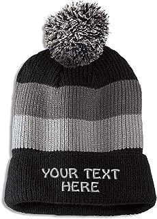 Vintage Pom Pom Beanie Custom Personalized Text Skull Cap Hat for Men & Women