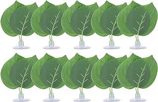 Fdit 10 szt. imitacja zielonych liści, pudełko na gady symulacja zielonych liści, materiały gadów, symulacja liści brzoskwini