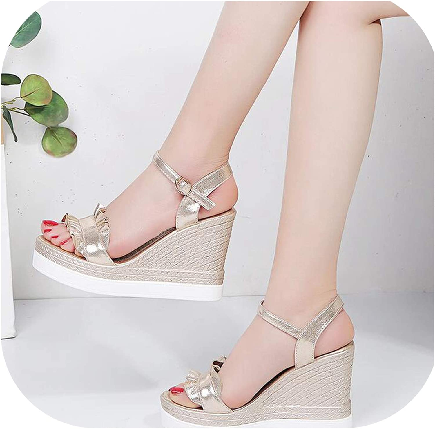 Shine-shine Women Ruffles Sandals Pu Wedges Solid Buckle Fish Mouth HEE shoes F254
