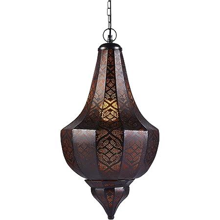 Lampe Suspension Luminaire marocaine Kanita 50cm Noir E27 Douille | Plafonnier Lustre de Salon marocain oriental | Lanterne électrique indienne Vintage design décoration de maison orientale arabe