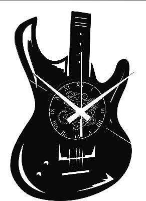 Vinyl Wall Clock Vintage Handmade Decor Home Office Guitar Bass Rock Metal Punk Music