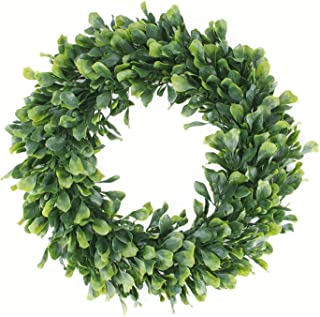 """Best Geboor Faux Boxwood Wreath, 15"""" Artificial Green Leaves Wreath for Front Door Hanging Wall Windows Decoration Holiday Festival Wedding Decor Review"""