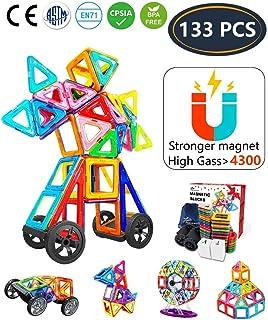 Jasonwell Bloques de Construcción Magnéticos 133 Piezas Bloques Magnéticos 3D Juguetes Construcción Juguetes magnéticos Juego Creativo y Educativo para Los Niños Más de 3 Años