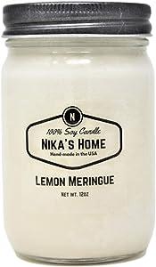 Nika's Home Lemon Meringue 12oz Mason Soy Candle