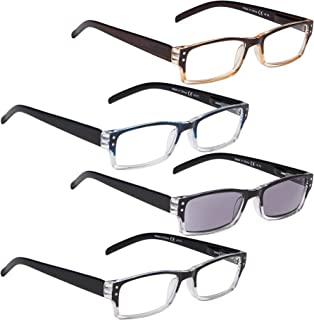 READING GLASSES 4 pack Include Sunshine Readers for Women and Men