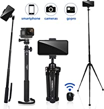"63"" Tripod, COMAN Premium Phone Tripod, Portable All-in-One Professional Camera Tripod, Lightweight Aluminum, Bluetooth Re..."