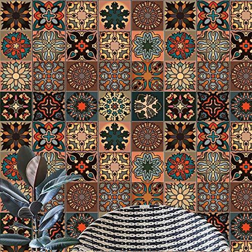 indabyo 20 pegatinas de azulejos estilo marroquí, autoadhesivas, para pared, despegar y pegar, para cocina, sala de estar, baño (15 x 15 cm) Mo