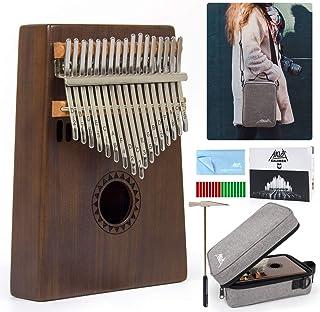 AKLOT Kalimba 17 Teclas Pulgar Piano Marimbas Madera Maciza Instrumento africano Mbira Profesional Finger Piano Con bolsa de hombro lección en línea para Profesional