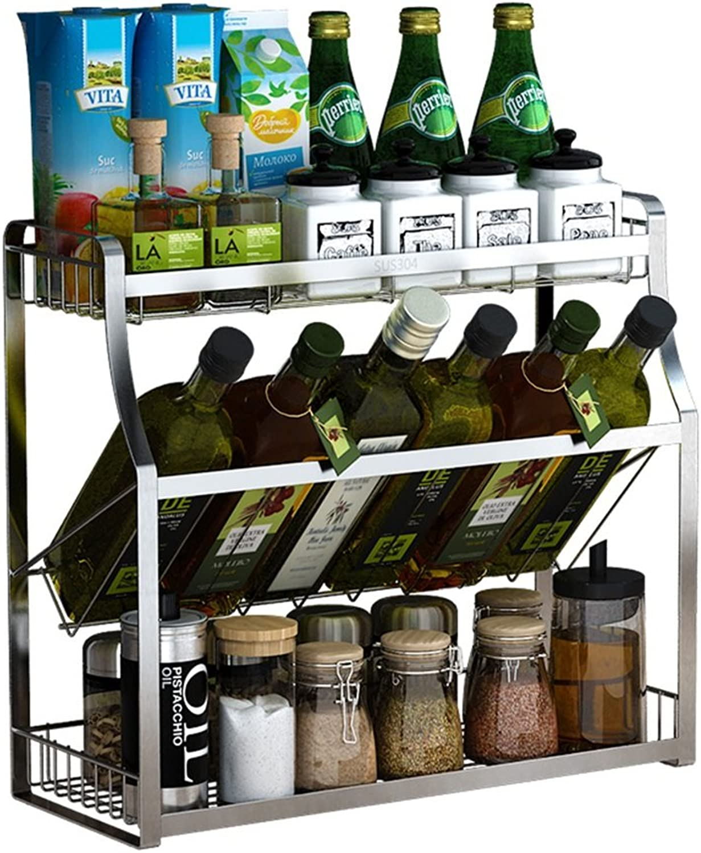LXLA- 2-Tier Kitchen Shelf 304 Stainless Steel Desktop Storage Seasoning Seasoning Spice Rack Spice Rack (Size   30×18×40cm)