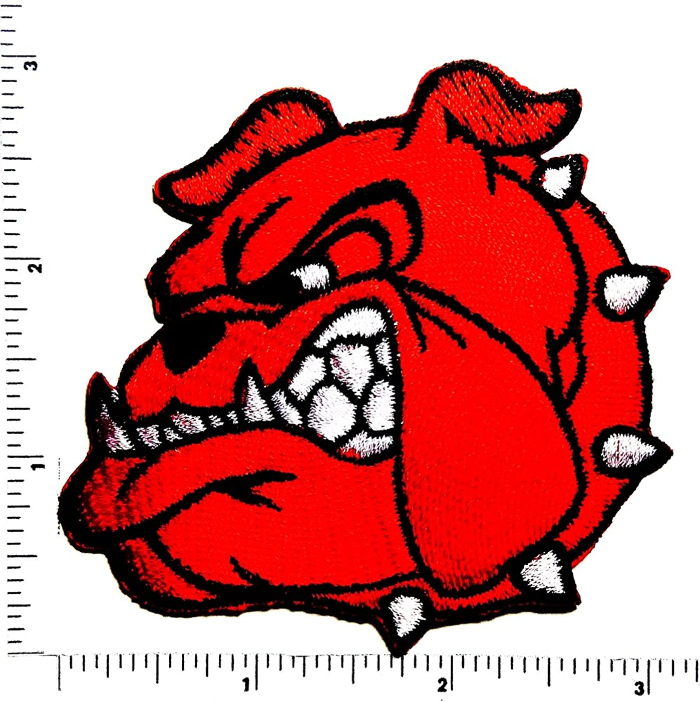 head red Cartoon Pitbull Bulldog Dog patch Applique for Clothes Great as happy birthday gift