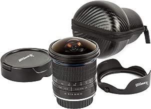 Ultimaxx 7mm F/3.0 Fisheye Lens Compatible with Nikon Camera with Petal Lens Hood and Hard Shell Molded Case - Aluminum Wide Angle Camera Optics