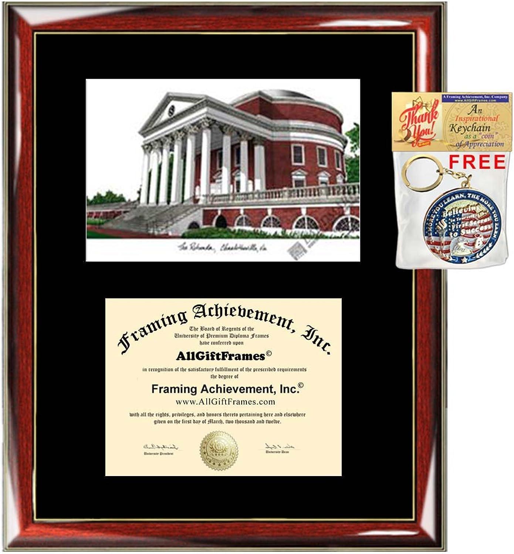 University of Virginia UVA Lithograph Diploma FramePremium Wood Glossy Prestige Mahogany with gold AccentsSingle Black MatUniversity Diploma Frame