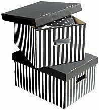 COMPACTOR Zestaw 2 pudełek z tektury falistej, z uchwytami transportowymi, możliwość układania w stos, czarny, 40 x 31 x 2...