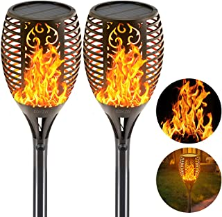 EOYIZW Solar Flame Torches Lights Flickering Dancing Landscape Lanterns Dusk to Dawn Auto On Off 99 LEDs IP65 Waterproof Pathway Garden Yard Walkway Lawn Patio Decorative Outdoor Camping Lamp 2 PCS